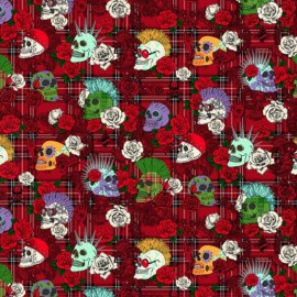 Tissu coton Punky fond rouge - Oeko tex