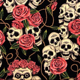 "Tissu Popeline coton imprimé têtes de morts ""The rose Tatoo"" Alexander Henry"