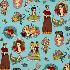 "Tissu Popeline coton imprimé Frida Kahlo ""Todo para ti"" Alexander Henry"