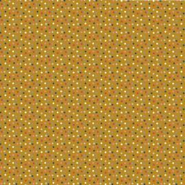 Tissu Popeline coton imprimé petit pois multi fond Moutarde - oeko tex