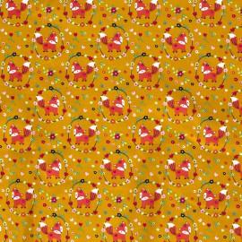 Tissu popeline motifs renards, hiboux et oiseaux fond moutarde - Oeko tex