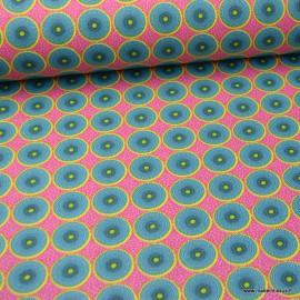 Tissu coton motifs ronds wax fond rose - oeko tex