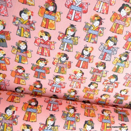 Tissu coton motifs Geishas japonais Corail - oeko tex