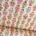 Tissu coton motifs Geishas japonais ivoire - oeko tex