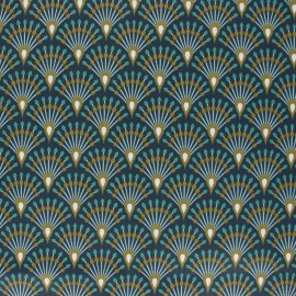 Tissu coton imprimé écailles bronze et nuit - oeko tex