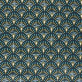 Tissu coton imprimé écailles bronze - oeko tex