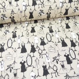 Tissu toile aspect lin Mon dressing en noir et blanc - Oeko tex