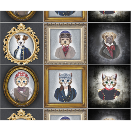 Tissu velours rasé en panneau de 6 motifs chats et chiens