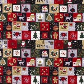 Tissu popeline de Noël motif Calendrier de l'avent - Oeko tex