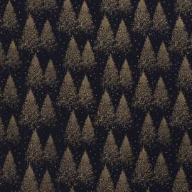 Tissu popeline de Noël motif sapins Or fond marine - Oeko tex