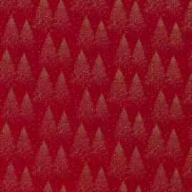 Tissu popeline de Noël motif sapins Or fond Rouge - Oeko tex