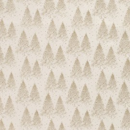 Tissu popeline de Noël motif sapins Or fond Blanc cassé - Oeko tex