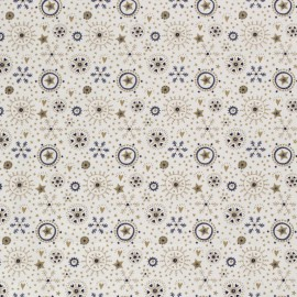 Tissu popeline de Noël motif coeurs, flocons et étoiles fond marine - Oeko tex