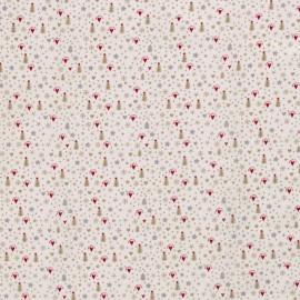 Tissu popeline de Noël motif sapins, coeurs, flocons et étoiles fond écru - Oeko tex