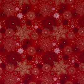 Tissu popeline de Noël motif coeurs et étoiles fond Rouge et or - Oeko tex