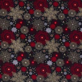 Tissu popeline de Noël motif coeurs et étoiles fond marine, rouge et or - Oeko tex