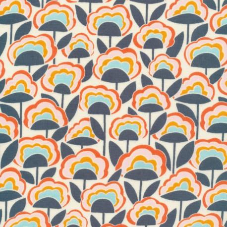 Tissu Bio coton CLOUD9 - Collection Good Vibration - Fleurs fond écru