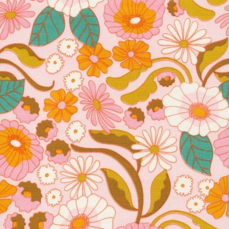 Tissu Bio coton CLOUD9 - Collection Good Vibration - Fleurs Vintage fond rose