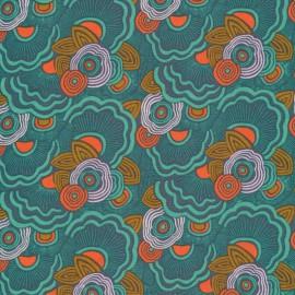 Tissu Bio coton CLOUD9 - Collection Good Vibration - Fleurs fond vert