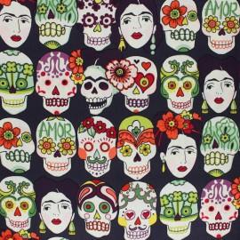 """Tissu Popeline coton imprimé têtes de morts """"Gotas del Amor"""" fond Aubergine par Alexander Henry"""