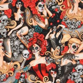 "Tissu Popeline coton imprimé têtes de morts ""Las Elegantes"" par Alexander Henry"