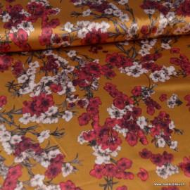 Tissu satin microfibre  imprimé fleurs fond Moutarde