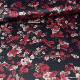 Tissu satin microfibre  imprimé fleurs fond Noir