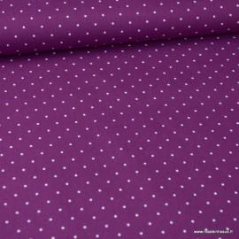Tissu Popeline coton imprimé petit pois fond Fuchsia - oeko tex