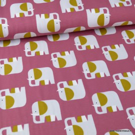 Tissu jersey BIO motifs élephants fond Grenadine - GOTS