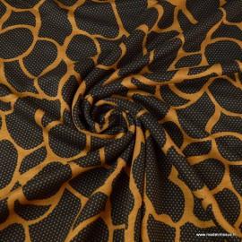 Tissu Jersey milano motifs abstraits Moutarde et noir - oeko tex