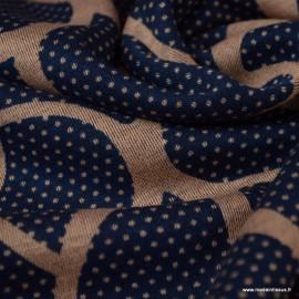Tissu Jersey milano motifs abstraits marine et beige - oeko tex