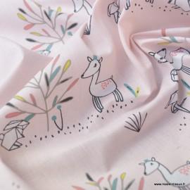 Tissu oeko tex en coton motifs Effie biches et lapins Origami fond Blush
