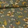 Tissu Viscose froissé lurex motifs fleurs fond Kaki