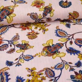 Tissu Viscose froissé lurex motifs fleurs fond rose et pétrole