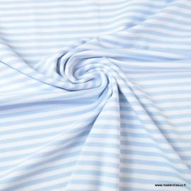 Tissu jersey à rayures  type marinière bleu ciel et blanc - Oeko tex