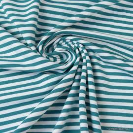 Tissu jersey à rayures  type marinière Pétrole et blanc - Oeko tex