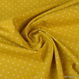Tissu Popeline coton imprimé petit pois fond Moutarde - oeko tex