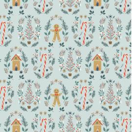 "Tissu Popeline coton Motifs sucre d'orge, sapin de Noël ""Cozy & Joyful"" Art Gallery Fabrics"