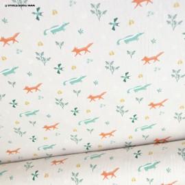 Tissu coton motifs blaireaux et renards - Oeko tex