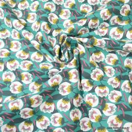 Tissu coton motif Dimeo fond Emeraude - Oeko tex