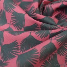 Tissu coton motif Comea fond Amarante - Oeko tex
