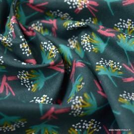 Tissu coton motif Ombilo Cyprès et Emeraude - Oeko tex