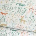Tissu coton Jolibois motifs blaireaux et arbres - Oeko tex