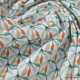 Tissu coton Wopa motifs feuillages blanc et vert foret - Oeko tex