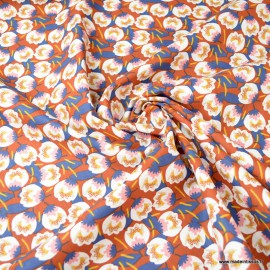 Tissu coton motif Dimeo fond Rouille et Marine - Oeko tex