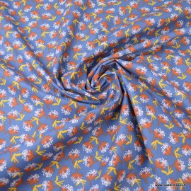 Tissu coton motif Ombilo Marine et Rouille - Oeko tex