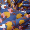 Tissu coton motif Kisnek fond Marine et ocre - Oeko tex
