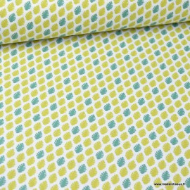 Tissu Cretonne coton imprimé feuilles Absinthe et vert - oeko tex