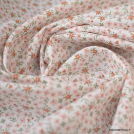 Tissu coton imprimé fleurs Rose thé et Thym - Oeko tex