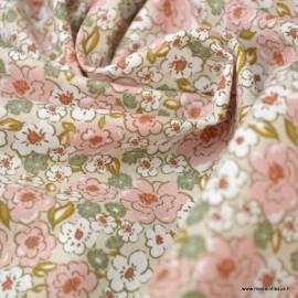Tissu coton imprimé fleurs Kalmia Rose thé et Thym - Oeko tex